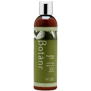 Bottle of all natural body lotion from Botani