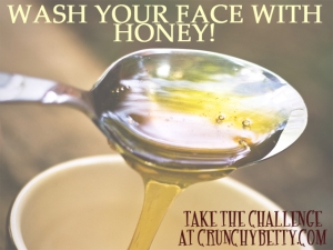Banner with spoonful of honey for the Crunchy Betty Wash your Face with Honey Challenge