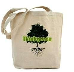 Reusable shopping bag with tree design