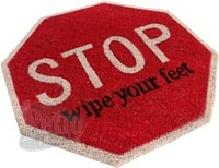 Doormat shaped like a Stop traffic sign
