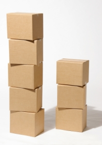 Stacks of packing boxes