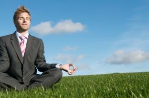 Meditating in a field