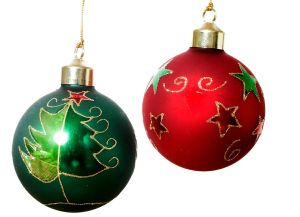 Green and red Christmas Balls