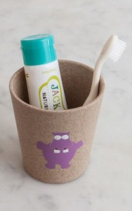 Jack N' Jill Toothbrush Holder and Rinse Cup with Hippo Design, with Biodegradable Toothbrush and Toothpaste