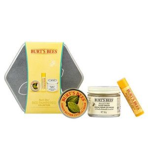 Burt's Bees Bee Pampered Collection with 3 full size products and a hexagonal tin