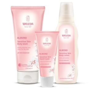 Weleda Almond Sensitive Skin Body Care Range products (shower cream, hand cream, body lotion)