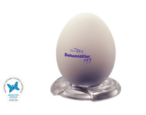 Cli~mate Dehumidifier Egg Sensitive Choice Logo with Blue Butterfly