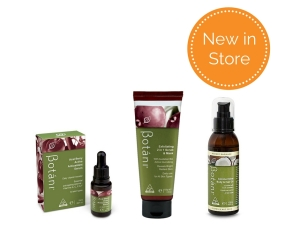 New in store Botani products Acai Berry Serum, 2 in 1 scrub and mask, Coconut Glow body and hair oil